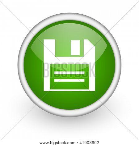glossy Web Diskettensymbol grüner Kreis auf weißem Hintergrund