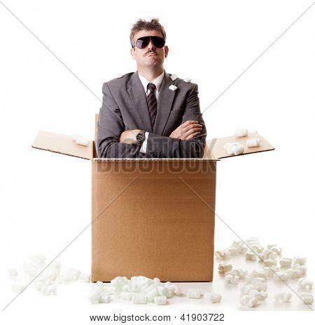 Businessman in a box