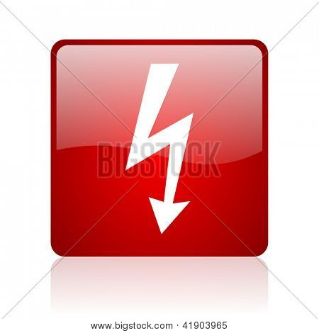 lightning red square glossy web icon on white background