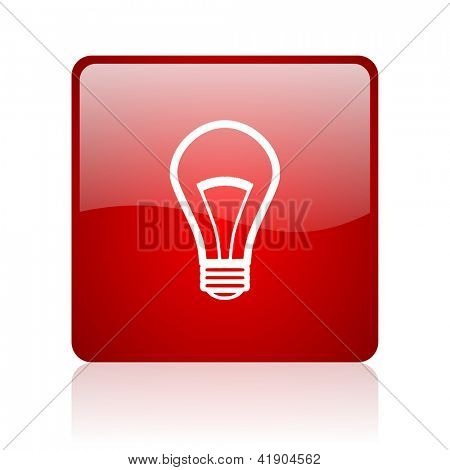 light bulb red square glossy web icon on white background