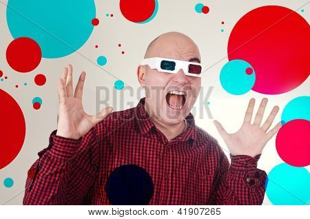 Scared Man With 3D Anaglyph Glasses