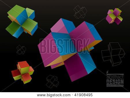 Colored abstract geometric shapes from cubes over black background, for graphic design.