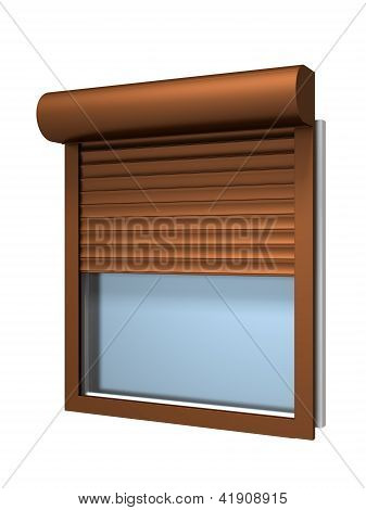 Window with roller shutter