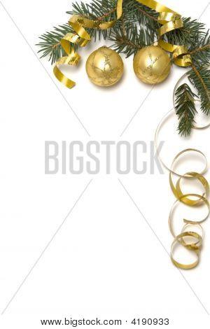 Постер, плакат: Золотой рождественские украшения, холст на подрамнике
