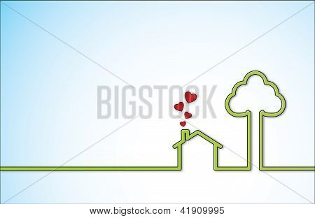 Simple Sweet Home illustration with a lonely green home next to a big tree with red heart shaped ico