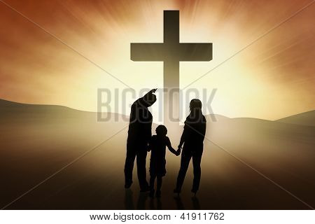 Christian Family Standing At The Cross