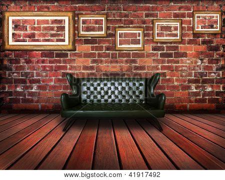 Luxury Leather Sofa In Vintage Room