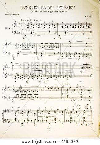 Antique Classic Music Scores - Composer Franz Liszt
