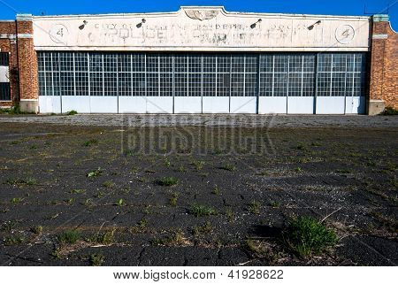 Abandoned historic aircraft hangar