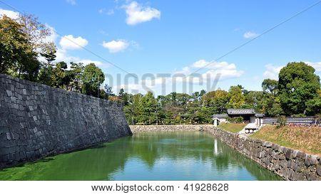 Kyoto, Japão - 27 de outubro: Lagoa no Castelo de Nijo