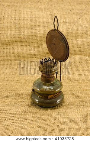 Rusty Retro Paraffin Lamp Burlap Background