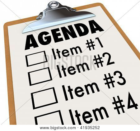The word Agenda on a numbered list of things to do or cover, held on a clipboard, serving as a schedule for a meeting or gathering