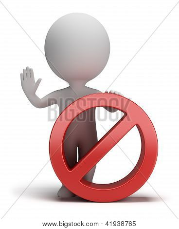3D Small People - Stop Sign