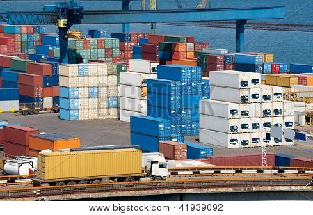 truck with container and sea
