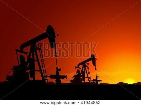 Oil Pump Backlit Vector Background