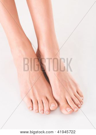 woman feet on white