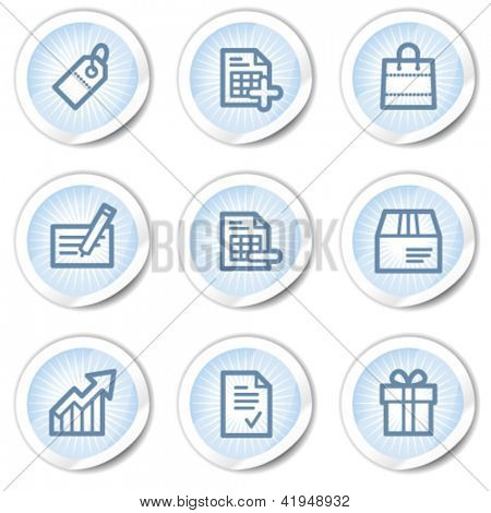 Shopping web icons set 1, light blue stickers