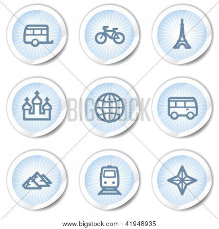 Travel web icons set 2, light blue stickers