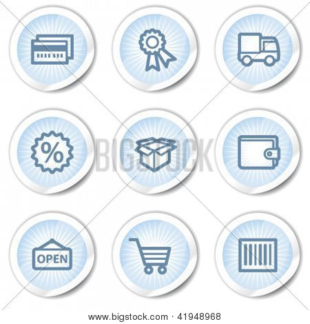 Shopping web icons set 2, light blue stickers