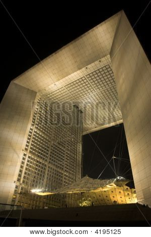 Grande Arche de la Défense in the outskirts of Paris France. Situated at the western end of the gran
