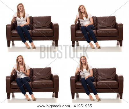 Young Woman Watching Television