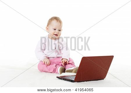 Sweet Baby With Laptop.
