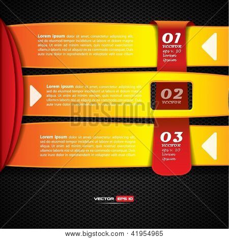 Option banners on dark metallic background with hanging red label