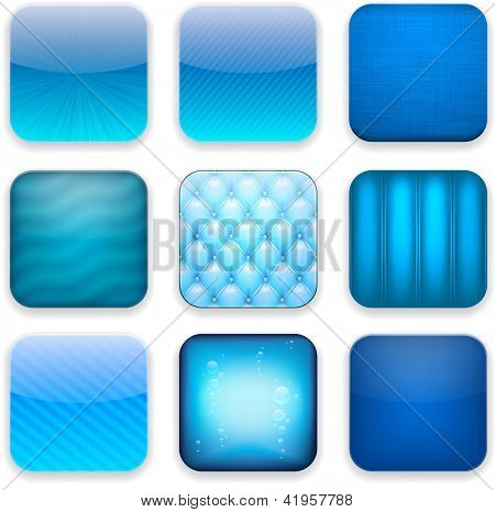 Vector illustration of blue high-detailed apps icon set. Eps10.