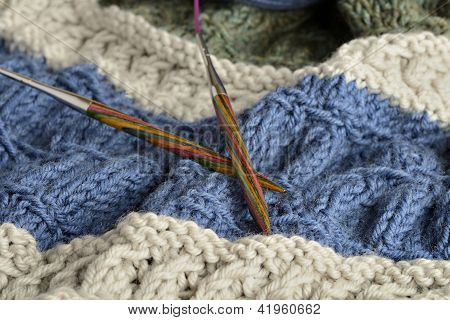 Circular Needle With A Knited Blanket