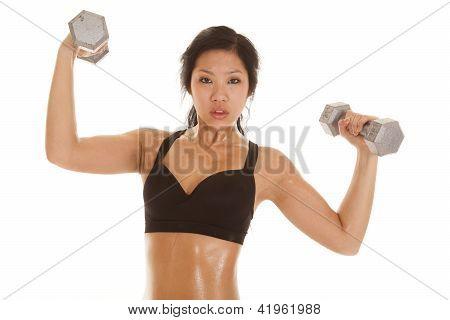 Asian Woman Black Top Lift Weight Serious