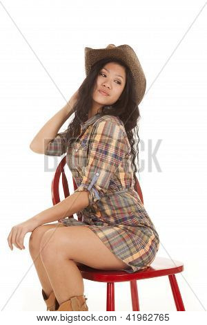 Asian Woman Plaid Hat Chair Look Back