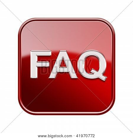 Faq Icon Glossy Red, Isolated On White Background
