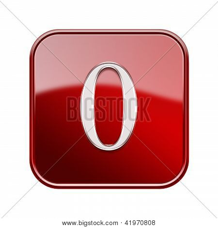 Number Null Red Glossy, Isolated On White Background