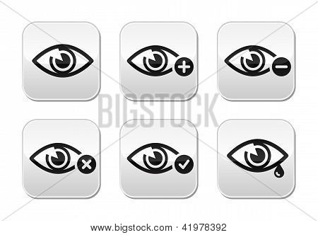 Eye sight buttons set - vector