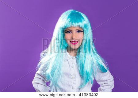 Children girl with blue turquoise long wig as fashiondoll on purple