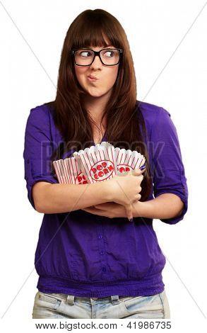 Girl Holding Empty Popcorn Packet Isolated On White Background
