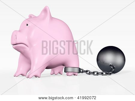 Pink Piggy With Ball And Chain