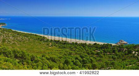 aerial view of Torn Beach in Hospitalet del Infant, Spain