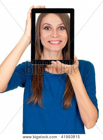 Young woman showing her picture in a tablet computer