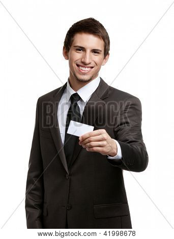 Man in suit showing his empty business card with copy space to write your own text, isolated on white