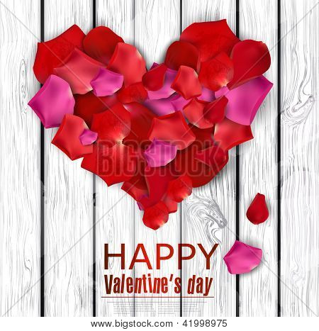 Beautiful heart made from rose petals on wooden texture. Vector background
