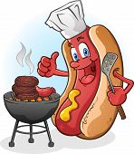 stock photo of wieners  - A happy hot dog cartoon character giving the thumbs up and grilling burgers and sausage over a charcoal grill - JPG