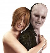 stock photo of cybernetics  - Women in love with a cybernetic man - JPG