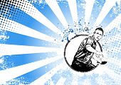 pic of ping pong  - illustration of ping pong player on grungy background - JPG