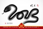 stock photo of chinese new year 2013  - Snake Ink Painting - JPG