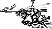 image of jousting  - Woodcut expressionist style image of a jousting knight - JPG