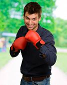 picture of boxing day  - Happy Young Man Wearing Boxing Gloves - JPG