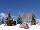Snow Bound Cabin In Winter Landscape
