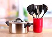 picture of food preparation tools equipment  - kitchen tools on table in kitchen - JPG
