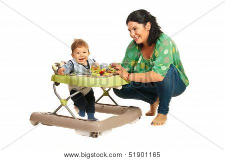 Mother And Baby In Walker